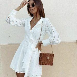 Zara white belted embroidered mini dress